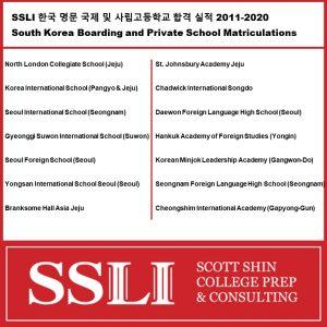 SSLI 한국 명문 국제 및 사립고등학교 합격 실적 2011-2020